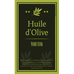 Personalized sticker label olive oil green
