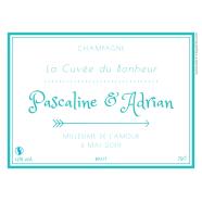 Étiquette personnalisée mariage champagne cuvée du bonheur</strong> Étiquette créée le 27/04/2019