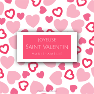 Personalized label sticker pink heart pattern</strong> &Eacute;tiquette cr&eacute;&eacute;e le 17/03/2018