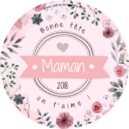 Custom label template Mother's day round</strong> Étiquette créée le 14/05/2018